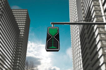 Concept Traffic Light Shows How Much Time Is Left Through A Sand Glass