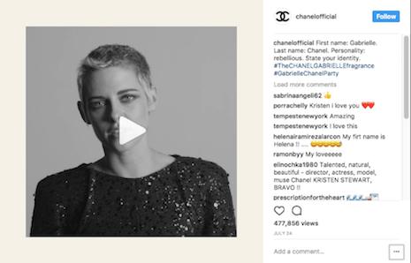 Kristen Stewart video in a Chanel Instagram post. Image credit: Kristen Stewart