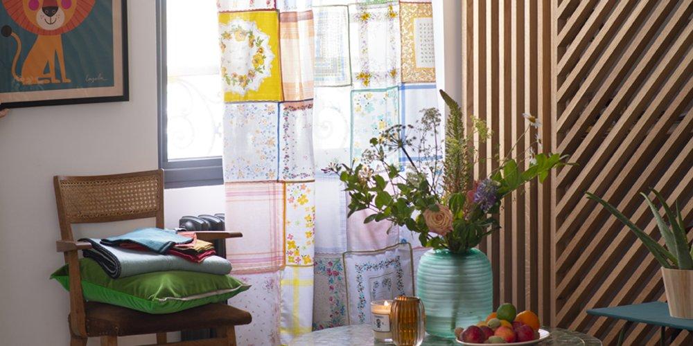 rideaux avec des mouchoirs en tissu