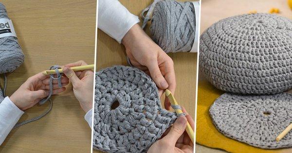 housse de pouf en crochet