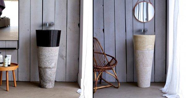 un lavabo de salle de bains sur colonne
