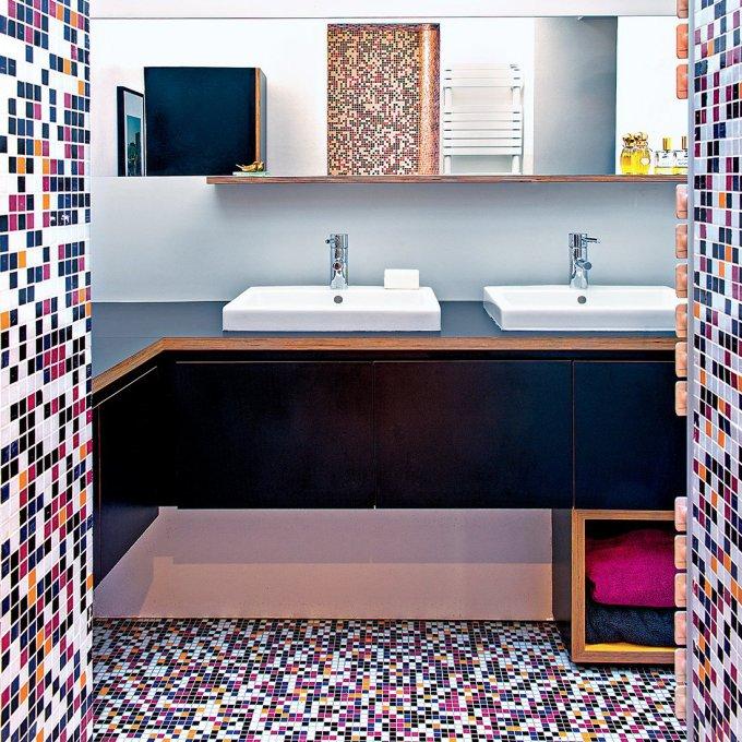salle de bains multicolore nos