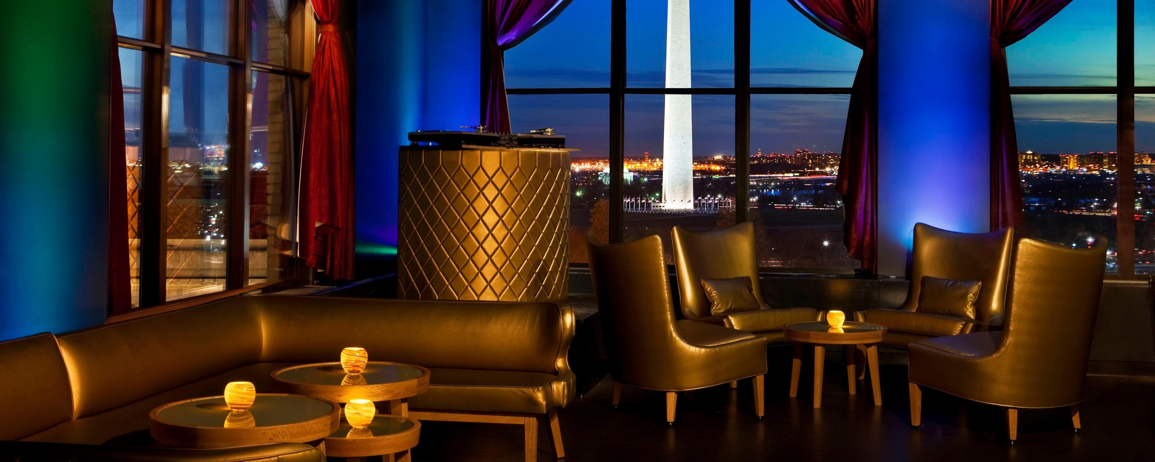 the living room with sky bar wall lights for w washington d c spg pov rooftop