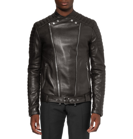 Balmain Slim-Fit Quilted Leather Biker Jacket