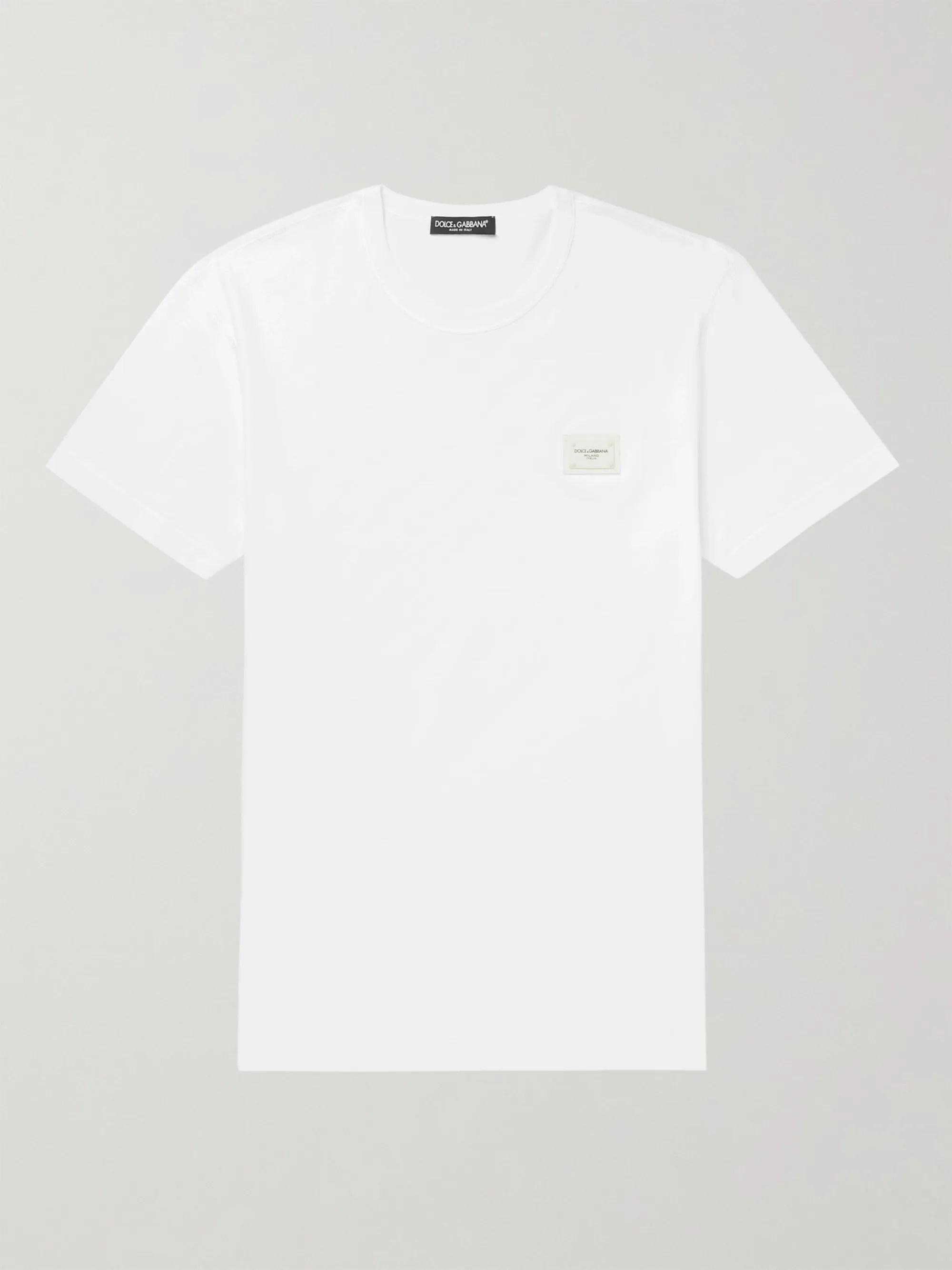 White Slim-Fit Logo-Appliquéd Cotton-Jersey T-Shirt