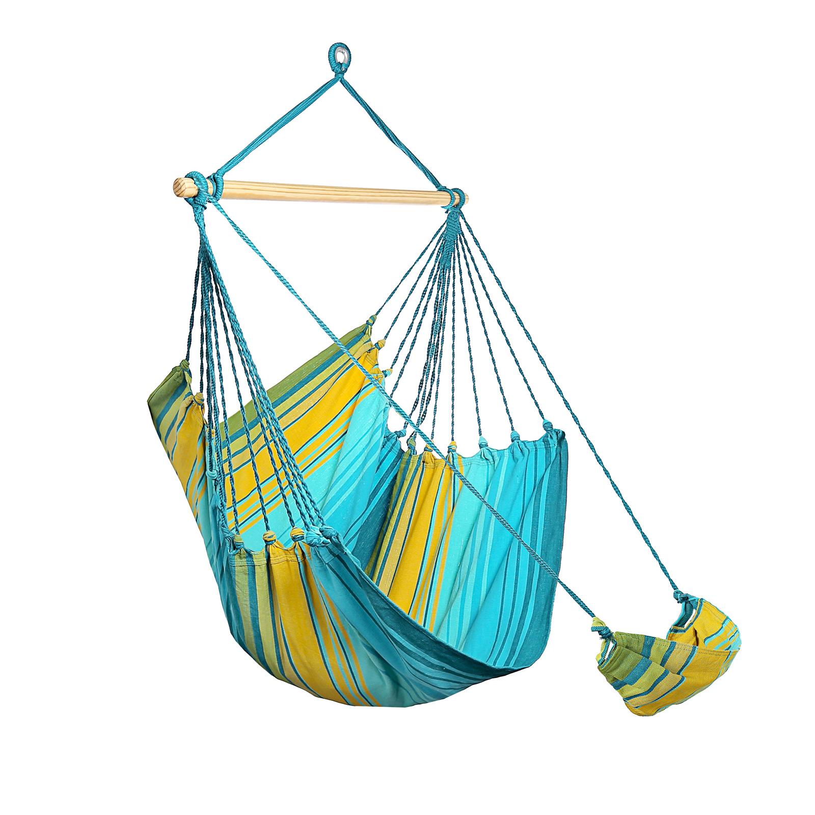 chaise hamac double bleue jaune