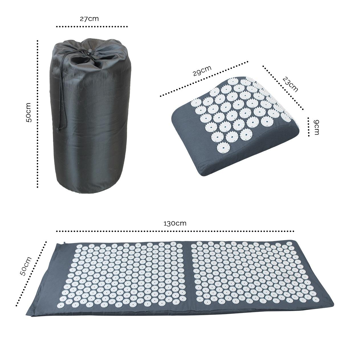 tapis d acupression 130 x 50 cm gris