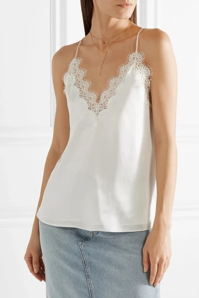Cami Nyc Everly Lace Trimmed Silk Charmeuse Camisole Net A Porter Com