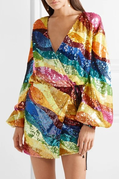 Attico  Sequined tulle wrap mini dress  NETAPORTERCOM