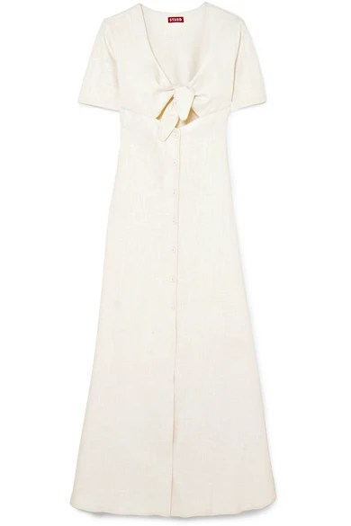 STAUD Maya Tie-Front Linen Blend Maxi Dress