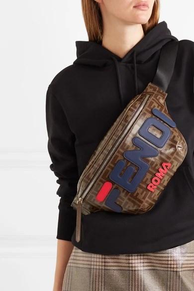 Fendi   Fila leatherappliqud printed coatedcanvas belt bag  NETAPORTERCOM