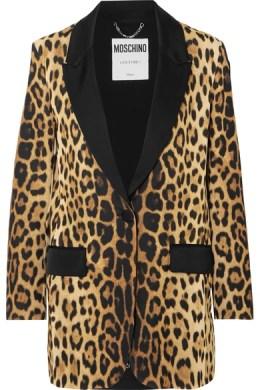 MOSCHINO Satin-trimmed leopard-print silk-crepe blazer