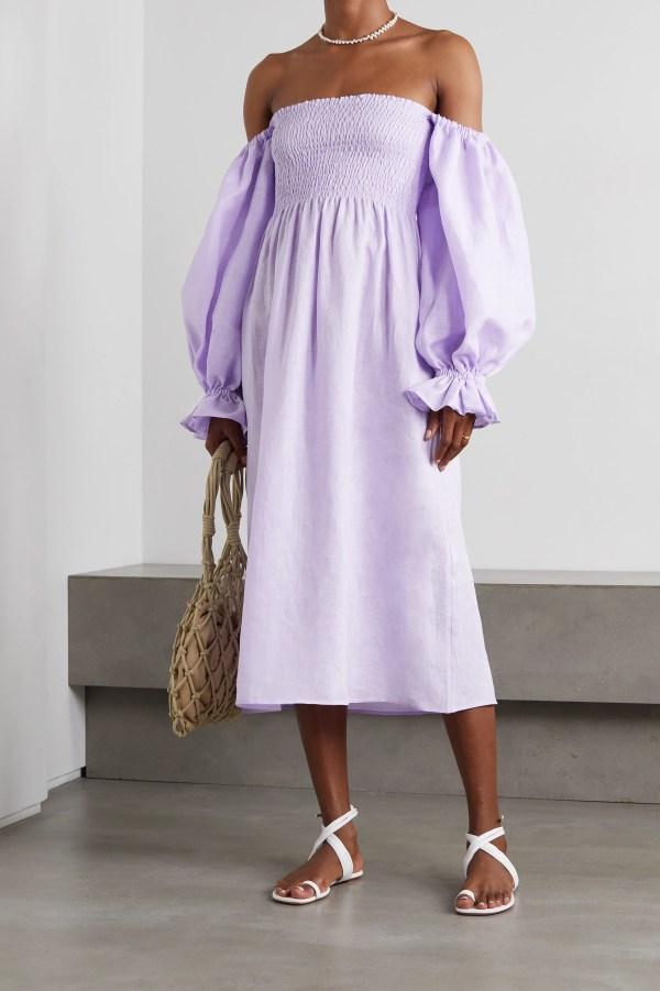 Sleeper Atlanta off-the-shoulder shirred linen midi dress