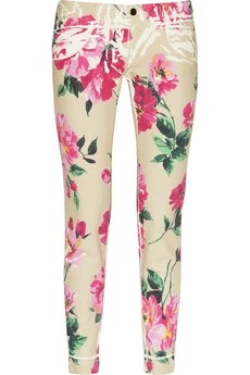 Dolce & Gabbana Cropped peony-print mid-rise skinny jeans £390