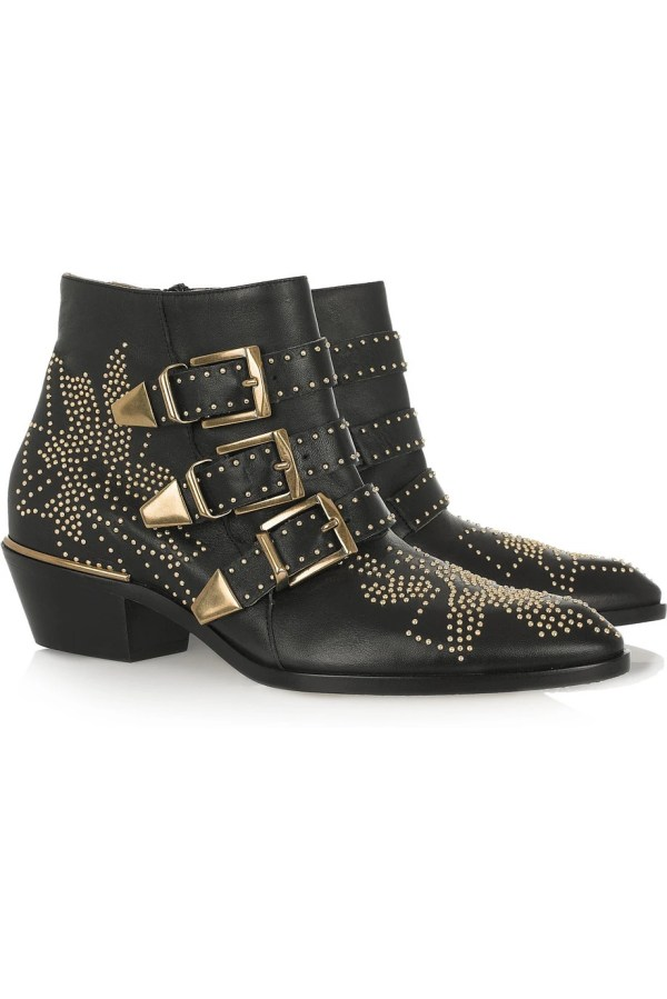 Chlo Studded Leather Ankle Boots
