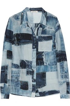 Emma Cook Denim-print silk and cotton-blend shirt £315