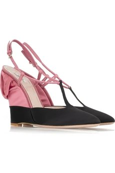Miu Miu Satin wedge T-bar sandals