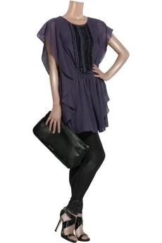 Antik Batik Embellished draped wool dress