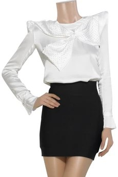 Balmain Bow-embellished silk blouse