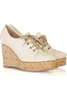 Chloé Lace-up canvas wedges