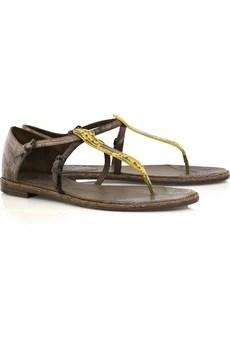 Bottega VenetaLeather and lizard sandals