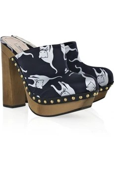 Miu Miu Cat-print satin clog sandals
