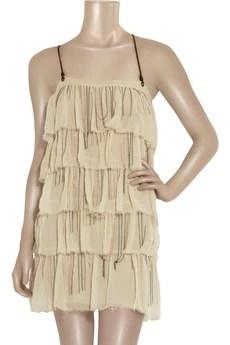 BessChain tier silk-chiffon dress