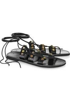 BessStudded lace-up leather sandals