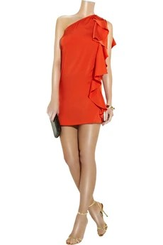 Halston Asymmetric silk mini dress