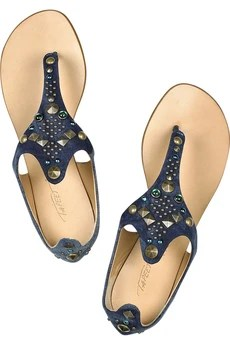 Tapeet Jeweled denim thong sandals
