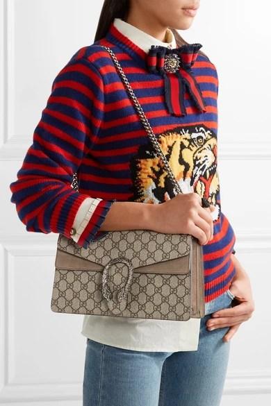 Gucci  Dionysus small coatedcanvas and suede shoulder