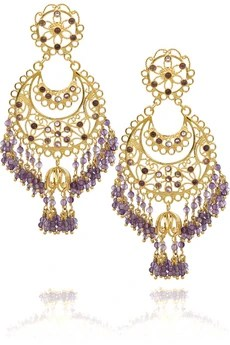 Isharya Moon Bali 18-karat gold-plated amethyst earrings