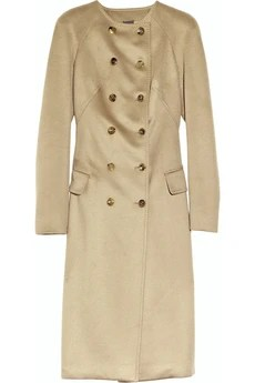 Collarless cashmere Camel coat by Alexander McQueen