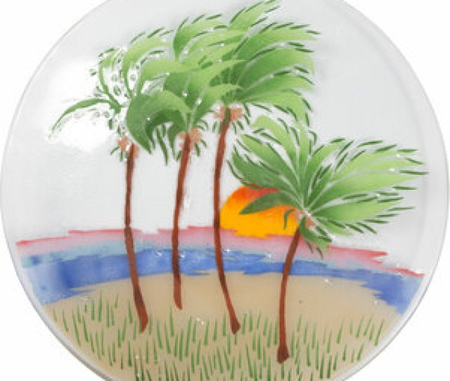 Palm Trees By Fusion Art Glass  Round Plate