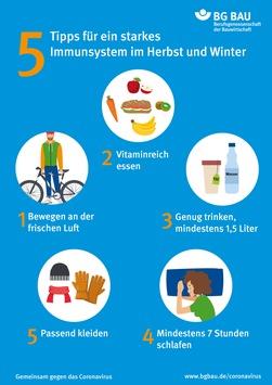Fit durch den Winter – Immunabwehr stärken / BG BAU-Plakat