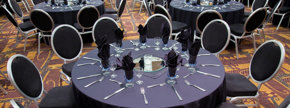 chair cover rentals red deer office desk meeting rooms radisson hotel meetings elegant place settings in s event space boardroom with cherrywood panelling