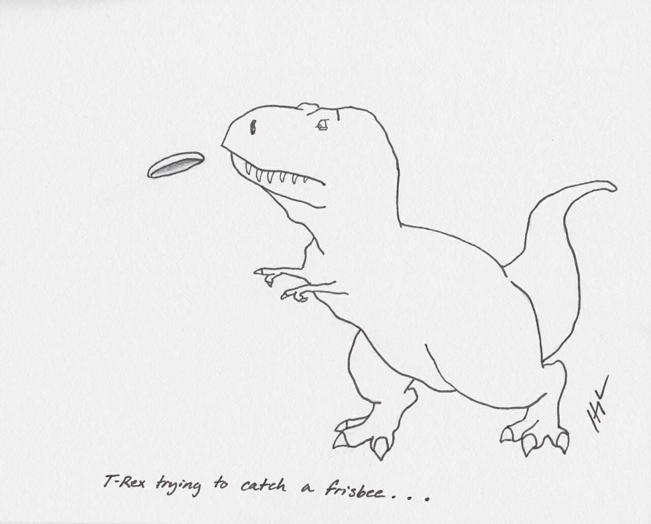 T Rex Trying To Catch A Frisbee