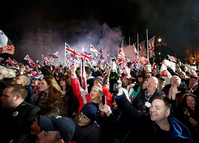 The British celebrate their country's exit from the EU Photo: Reuters