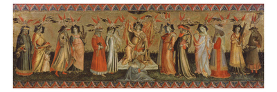 People in medieval costume representing Ptolemy, Cicero, Aristotle, Euclid, Pythagoras and Tubalcain, with women representing Philosophy, Grammar, Rhetoric, Music, Arithmetic, Geometry and Astronomy