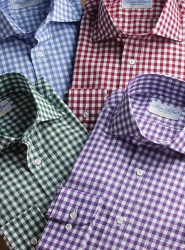 Light Blue Gingham Cutaway Collar Shirt