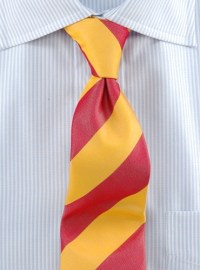 Woven Block Stripe Tie Red and Gold