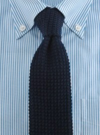 Sea Island Cotton Knit Tie in Navy