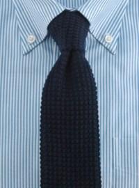 Sea Island Cotton Knit Tie in Navy