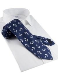 Silk Anchor Print Tie in Navy