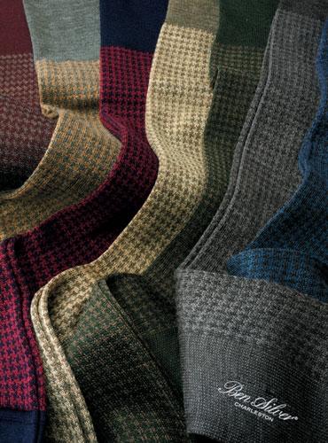 Wool Houndstooth Dress Socks