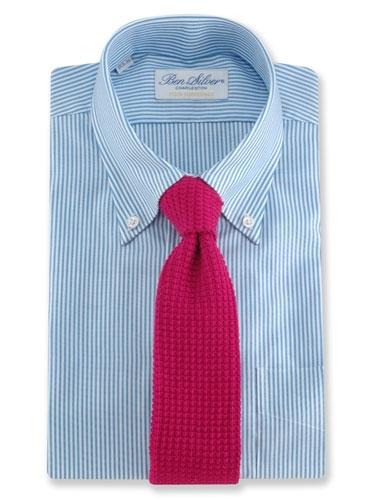 Sea Island Cotton Knit Tie in Magenta