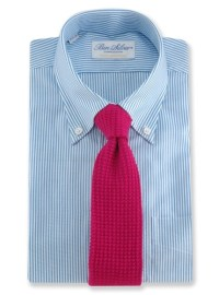 Sea Island Cotton Knit Tie in Magenta