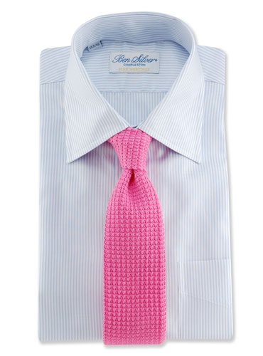 Sea Island Cotton Knit Tie in Pink