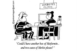 Cartoon: Could red wine improve type 2 diabetes patients