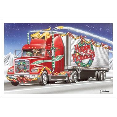 Happy Holidays Red Truck Paul Oxman Publishing